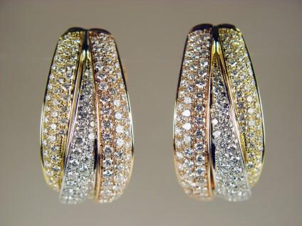 Three tone gold diamond earrings - 1.69ct diamond earrings set in 18ct rose, white & yellow gold